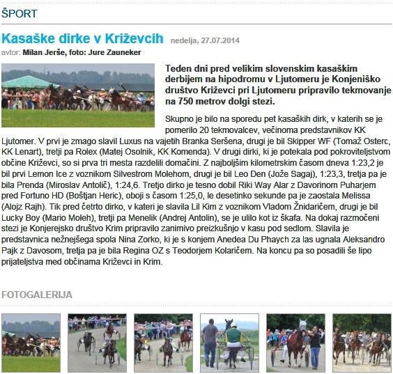 Kasaške dirke 2014 članek